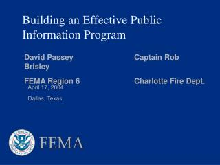 Building an Effective Public Information Program