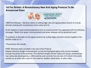 1st For Britain. A Revolutionary New Anti Aging Protocol