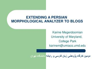 EXTENDING A PERSIAN MORPHOLOGICAL ANALYZER TO BLOGS