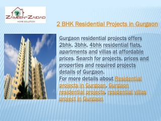 2 BHK Residential Projects in Gurgaon