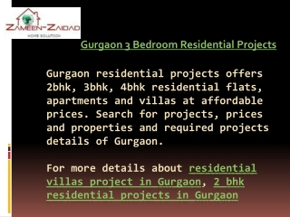 Gurgaon 3 Bedroom Residential Projects