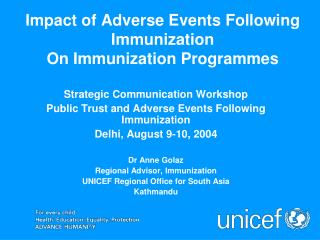 Impact of Adverse Events Following Immunization On Immunization Programmes