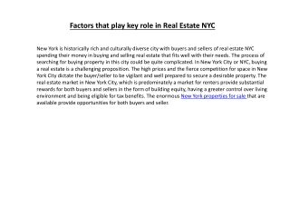 Factors that play key role in Real Estate NYC