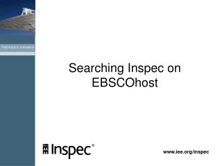 Searching Inspec on  EBSCOhost