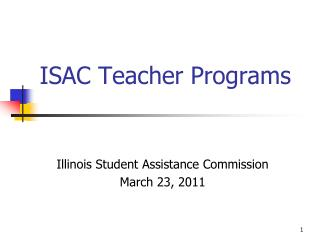ISAC Teacher Programs