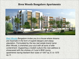 Bren Woods Bangalore Apartments now available on very less P