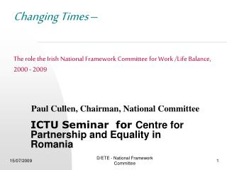 ICTU Seminar  for  Centre for Partnership and Equality in Romania