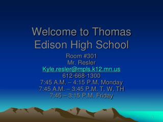 Welcome to Thomas Edison High School