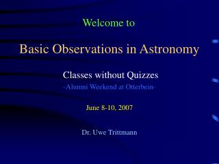 Basic Observations in Astronomy