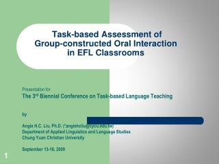 Task-based Assessment of  Group-constructed Oral Interaction  in EFL Classrooms