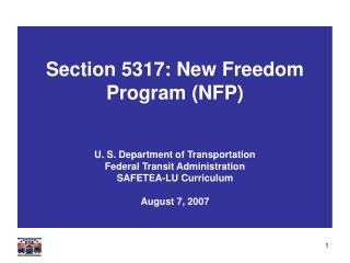 Section 5317: New Freedom Program (NFP)