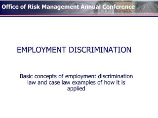 EMPLOYMENT DISCRIMINATION