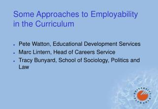 Some Approaches to Employability in the Curriculum
