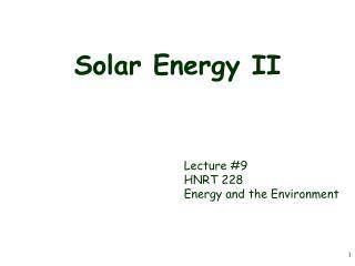 Solar Energy II