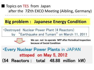 ■  Topics on  TES   from  Japan         after the  7 2 th EXCO Meeting ( Aibling, Germany )