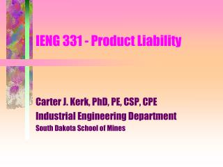 IENG 331 - Product Liability
