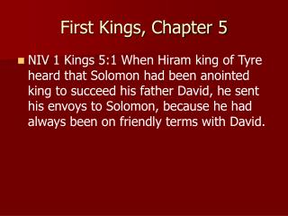 First Kings, Chapter 5