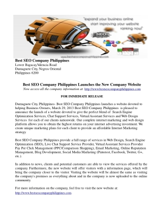 Virtual Assistant Services Philippines Press Release