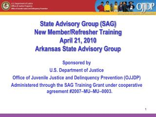State Advisory Group (SAG)  New Member/Refresher Training April 21, 2010 Arkansas State Advisory Group