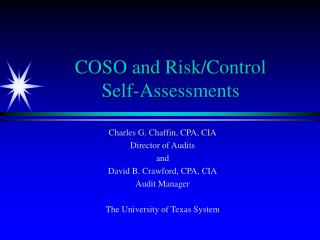 COSO and Risk/Control  Self-Assessments