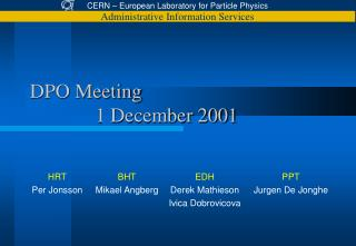 DPO Meeting  		1 December 2001