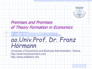 Premises and Promises of Theory Formation in Economics
