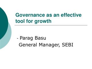 Governance as an effective tool for growth