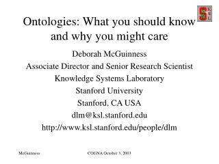 Ontologies: What you should know and why you might care