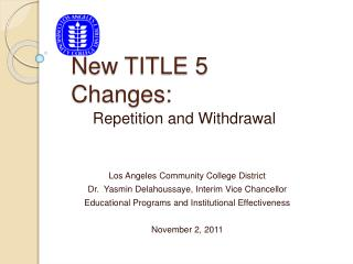 New TITLE 5 Changes: