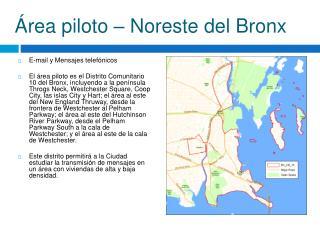Área piloto – Noreste del Bronx