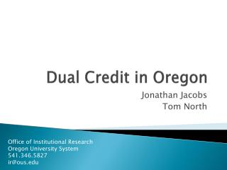 Dual Credit in Oregon