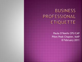 Business Professional Etiquette