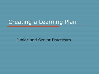 Creating a Learning Plan