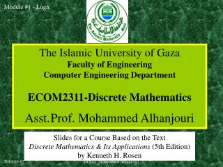 The Islamic University of Gaza Faculty of Engineering Computer Engineering Department ECOM2311-Discrete Mathematics Asst