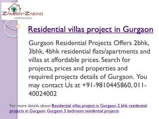 Residential villas project in Gurgaon
