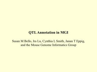 Overview of Mouse Genome Informatics (MGI)