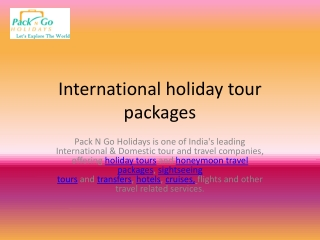 international holiday tour packages