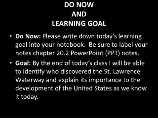 DO NOW AND LEARNING GOAL
