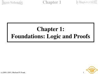 Chapter 1: Foundations: Logic and Proofs