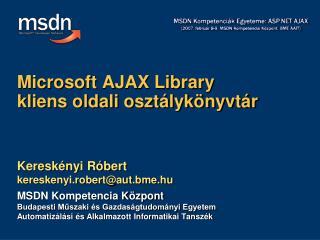 Microsoft AJAX Library kliens oldali osztálykönyvtár