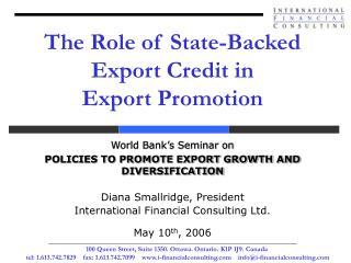 The Role of State-Backed Export Credit in  Export Promotion
