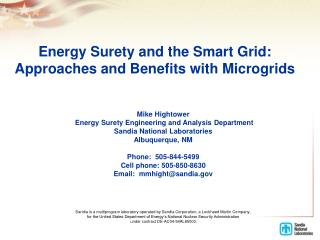Energy Surety and the Smart Grid:  Approaches and Benefits with  Microgrids