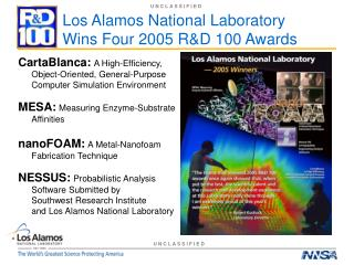Los Alamos National Laboratory  Wins Four 2005 R&D 100 Awards