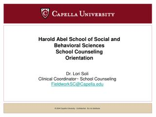 Harold Abel School of Social and  Behavioral Sciences School Counseling Orientation