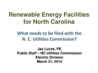 Renewable Energy Facilities for North Carolina