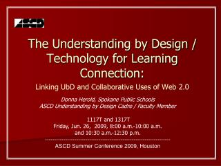 The Understanding by Design / Technology for Learning Connection: