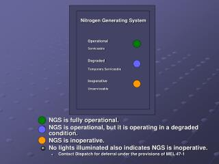 NGS is fully operational. NGS is operational, but it is operating in a degraded condition. NGS is inoperative.