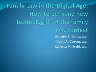 Family Law in the Digital Age : How to befriend new technologies in the family law context
