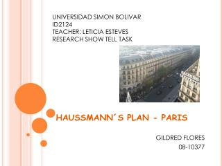 HAUSSMANN´S PLAN - PARIS