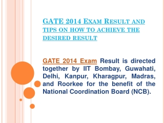 GATE 2014 Exam Result and tips on how to achieve the desired